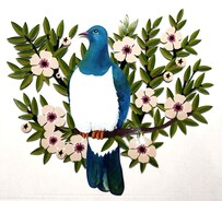 Metal Kereru/ Manuka Wall Art