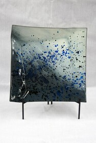 Blue Splatter Glass Plate