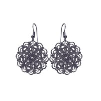 Lacey Circle Earrings - Black