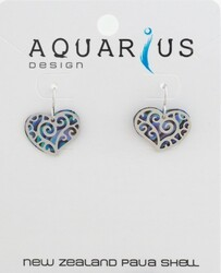 Paua Heart Filigree Earring