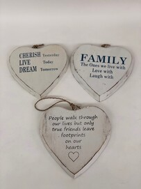 White Wash Hanging Hearts