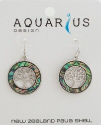 Paua Kauri Tree Ring Earrings