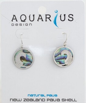 Natural Paua Fern Round Earrings