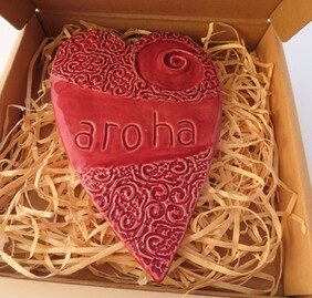 Red Aroha Heart Ceramic Wall Art