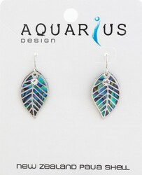 Paua Leaf Filigree Earring with Crystal