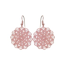 Lacey Circle Earrings - Rose Gold
