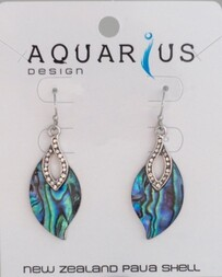 Paua Leaf with Crystal Earring