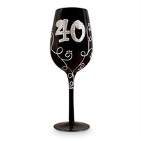 40 Black Diamante Wine Glass