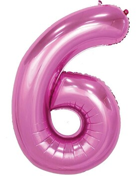 Giant Helium Number 6 - Pink