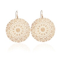 Lacey Large Circle Earrings - Yellow Gold