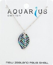 Paua Leaf Filigree Necklace with Crystal