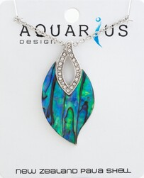 Paua Leaf with Crystal Necklace