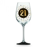 21 Gold & Black Wine Glass