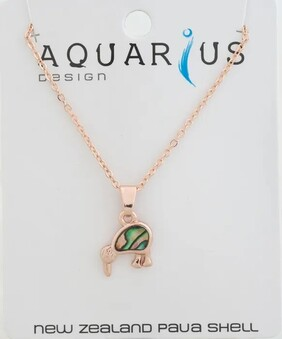 Natural Paua Kiwi Rose Gold Pendant