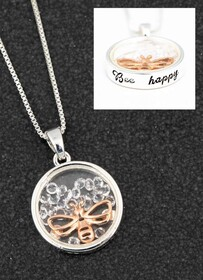 Floating Crystals Necklace - Bee Happy