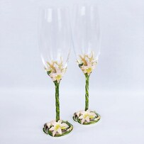 Pink Flowers Champagne Glass Set