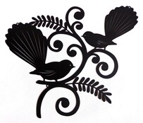 Metal Fantail Duo Wall Art