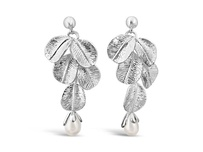 Fleur Pearl Earrings - Silver