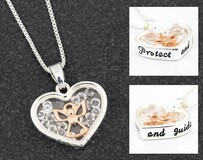 Floating Crystals Heart Necklace - Protect