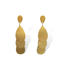 Ovale Tear Drop Earrings - Yellow Gold