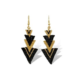 Le Fleche Yellow Gold Black - Hook Earrings