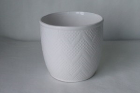 Small Chevron Pot - White