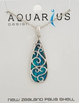 Filigree Tear Drop Dyed Paua Pendant