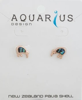 Natural Kiwi Rose Gold Stud Earrings