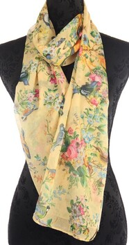 Floral Scarf - Yellow Birds