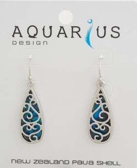 Filigree Tear Drop Dyed Paua Earring