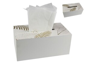 White With Gold Leaf Tissue Box