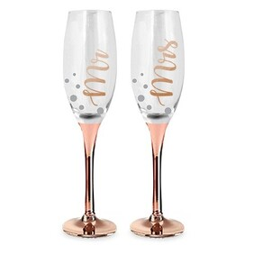 Mr & Mrs Rose Gold Champagne Glass
