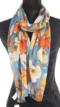 Busy Poppies Scarf - Blue