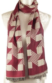 Star Pattern Scarf - Burgundy