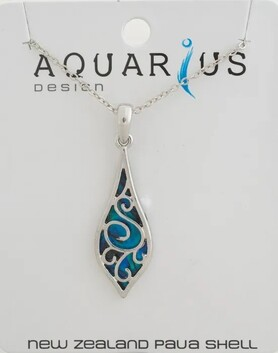 Filigree Rain Drop Dyed Paua Pendant