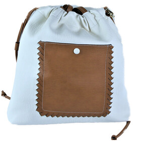 Large Leather Handbag Tan/White