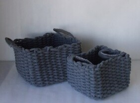 Large Cotton Rope Basket - Grey