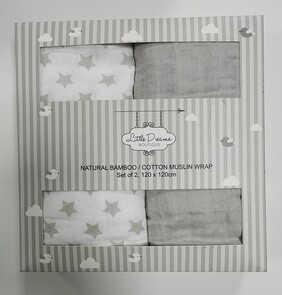 Bamboo/Cotton Muslin Wrap 2 Pack - Assorted Colours